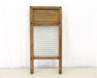 Antique Advertising Wood Washboard with Glass Washer Surface