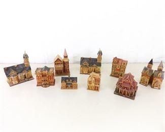 9 Vintage Miniature Bamboo House Secret Trinket Boxes