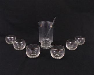 Mid Century 6 Serving 8 Piece Silver Rimmed Cocktail Set