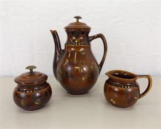 Vintage 5 Piece Georges Biard Teapot, Creamer, and Sugar Set