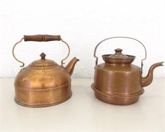 2 Antique Copper Tea Pots