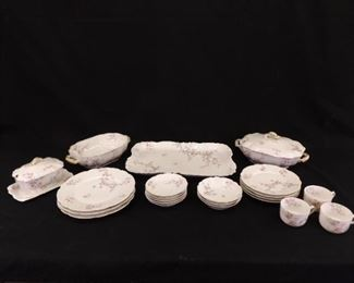 24 Piece Set of Antique Haviland Limoges Porcelain China