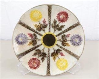 "RARE Late 1800's Wedgwood Majolica 9"" Chrysanthemum Plate"