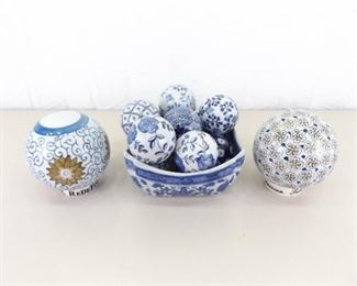 Lot of Asian Themed Porcelain Balls in a Bowl