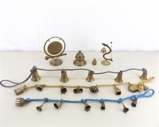 Lot of Solid Brass Asian Ceremonial Bells, Gong, etc.