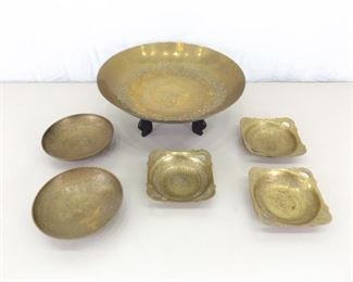 Lot of SOLID Etched Brass Asian Themed Trays, Bowls, etc.