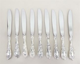 """9 Towle .925 Sterling Silver Handled 8.5"""" Dinner Knives"""