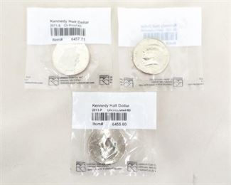 3 Littleton Graded 2011-P, D, and S Kennedy Uncirculated Half Dollars