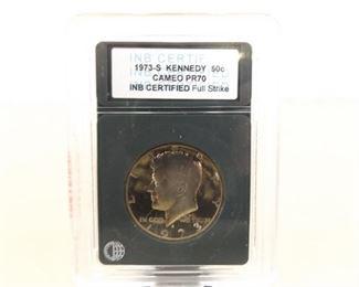 Professionally Graded 1973-S Kennedy Half Dollar