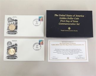 2000 US First Day Issue Philadelphia and Denver Sacagawea Dollar Set