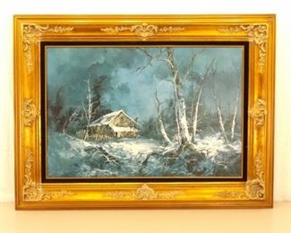Large Wood Framed Oil on Canvas Painting Winter Cabin Scene