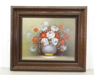 Carved Wood Framed Oil on Canvas Painting of Potted Flowers