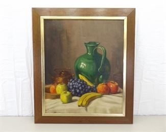 Wood Framed Oil on Canvas Painting of Fruit