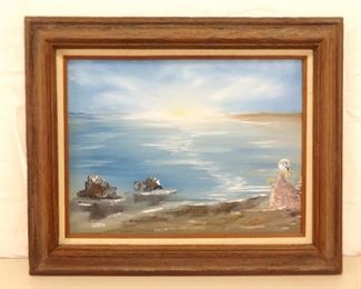 Wood Framed Oil on Canvas Painting of a Lady By the Seaside