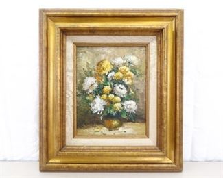 Wood Framed Oil on Board Painting of Potted Flowers