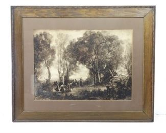 Antique Hand Carved Wood Framed Print Dancing Nymphs by Jean Baptiste Camille Corot