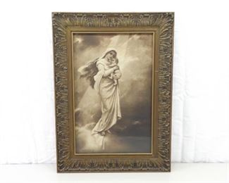 Antique Wood Framed Chromolithograph of Mary and Jesus Madonna