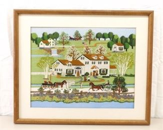 VERY Well Done Wood Framed Embroidered Needlepoint Amish Village Scene