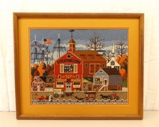 Well Done Wood Framed Embroidered Needlepoint Portsmouth Scene