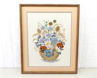 VERY Well Done Wood Framed Embroidered Needle Work Flower Basket