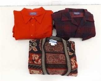 2 Women's Pendelton Long Sleeve Wool Shirts and 1 Pendelton Wool Sweater