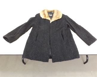 Vintage 1950's Dayton's Fur Collar Black Persian Lamb Coat