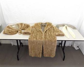 Vintage Dayton's Fur Coat, Shawl, and 2 Collars