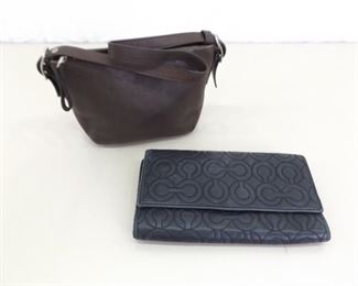 Used COACH Signature Wallet and Small Brown Clutch