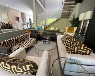 Modani Sectionals & Sofas, Eileen Gray inspired Side Tables, Pillows, Tapestries, Cowhide, Rug