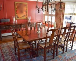 Trestle style dining  table with 8 chairs