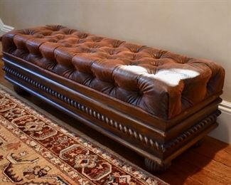 Tufted leather storage bench from Horchow
