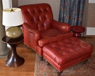 Red leather chair and matching ottoman