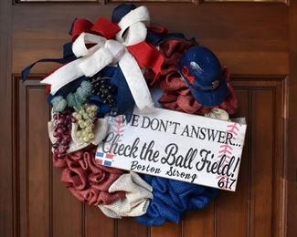 Baseball -themed Boston Strong wreath with #34 (David Ortiz) mini helmet