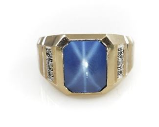 10K GOLD STAR SAPPHIRE & DIAMOND DECO MEN'S RING