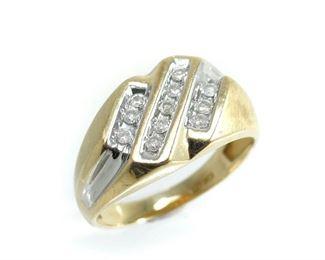 10K GOLD DIAMOND MEN'S VINTAGE COCKTAIL RING