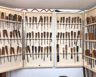 (2) CUSTOM WALL CABINETS FULL OF CHISELS/GOUGES  Most Of These Are BUCK BROS. Additional Makers Herters, Snow Brothers, J.B. Addis England, S.J. Addis London, & Possible Others.