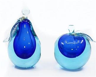 ALFREDO BARBINI BLOWN GLASS PEAR & APPLE BOOKENDS