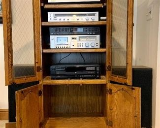 Stereo equipment and solid oak cabinet