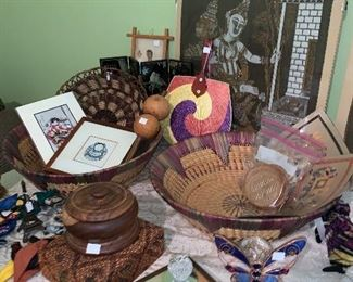 Various travel trinkets from Africa and other places