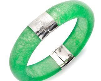 Macy'S Sterling Silver Jade Bangle Bracelet
