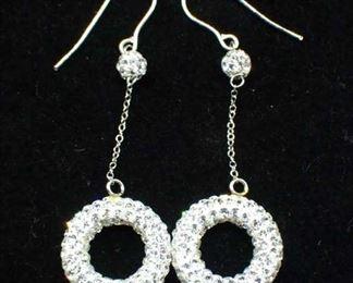 14K Gold Round Dangle Earrings W/ Cz Stones