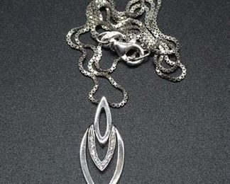 Sterling Silver Necklace W/ Diamond Pendant .04 Tcw