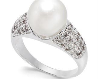 Charter Club Silver-Tone Pave & Imitation Pearl Ring