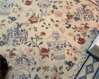 #27 blue cream needle point rug 94x140 as is dirty  $ 65.00