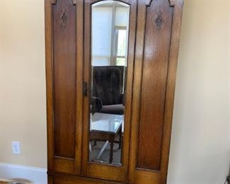 #1		oak armoire with drawer 34x16x72	 $150.00