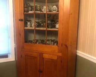 Antique Pine Corner Cabinet $450