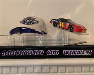 Brickyard 400 Winner Elite Car and Hat in Display case
