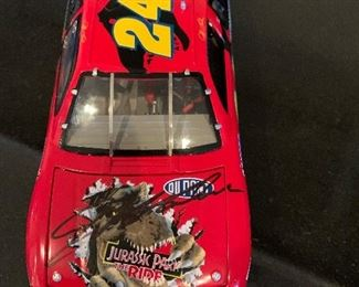 Jurasskic Park Ride Autographed Elite Race Car - in display case