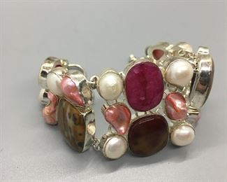 Sterling Silver & Semi Precious Stones and Pearl Braclet