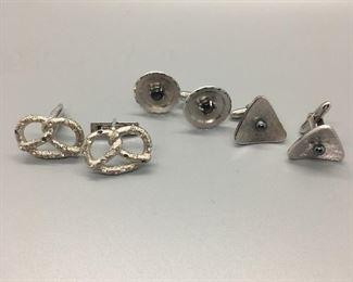 Three pairs of men's sterling silver cufflinks